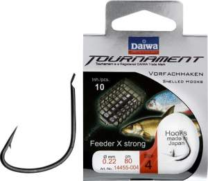 Daiwa Tournament X-Power Feederhaken schwarz Gr.8 80cm 0.20mm SB10